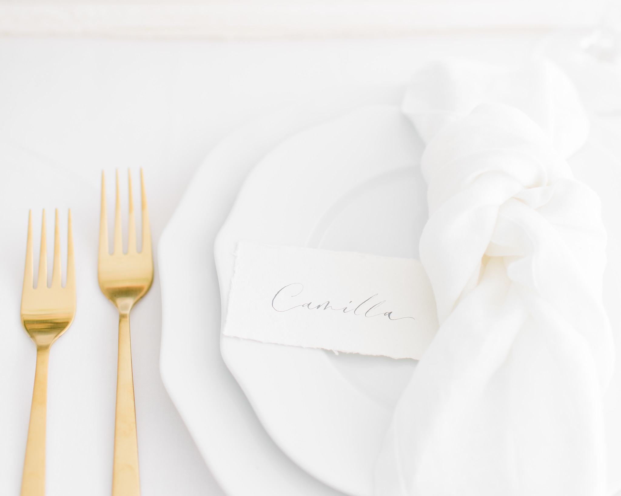 Handmande Placename on plate with gold cutlery