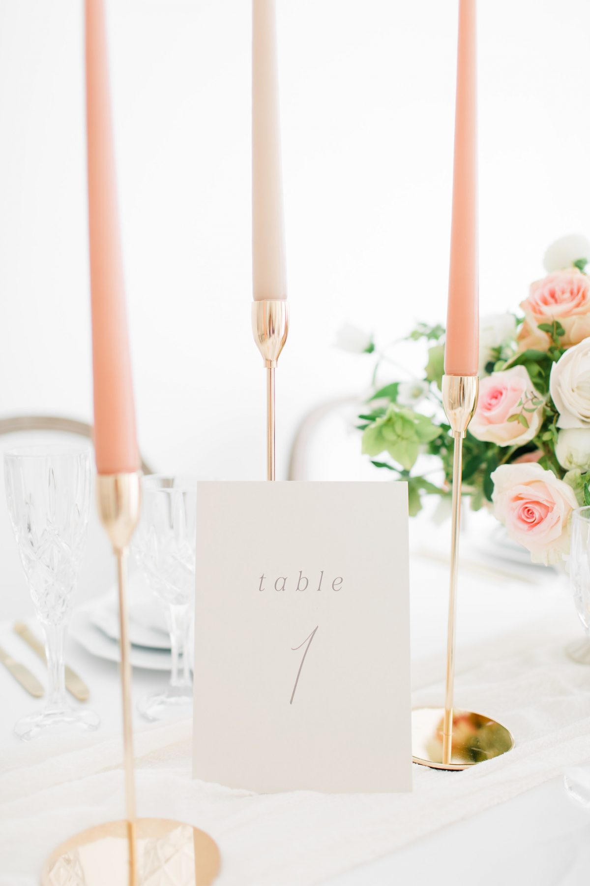 Table 1 table number next to coral candlesticks
